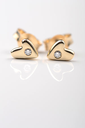 From the heart gold and diamond earrings small - Unforgettable Jewellery