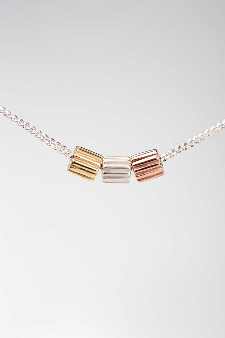Bella Figura Ditalini three colour pendant - Unforgettable Jewellery