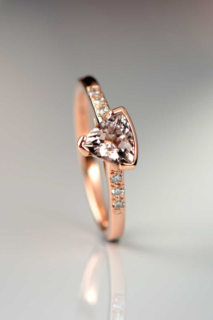 Morganite trillion diamond Slingshot rose gold ring