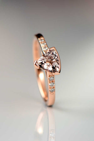 Morganite trillion diamond ring