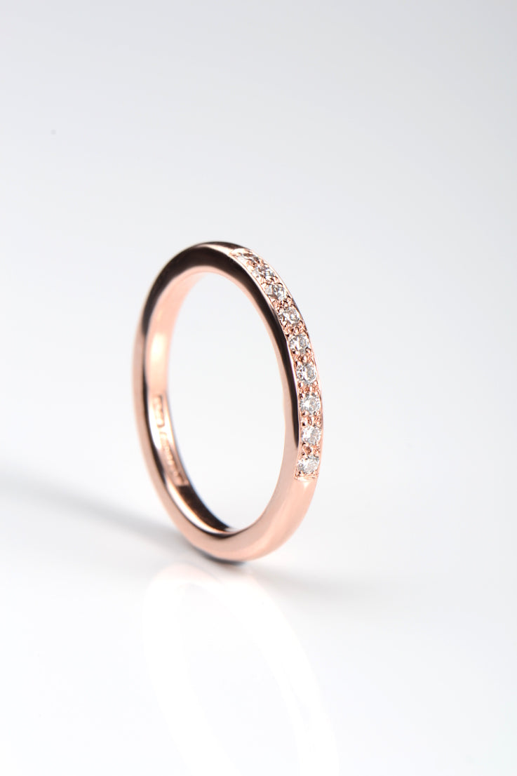 2mm 9ct rose gold diamond band - Unforgettable Jewellery