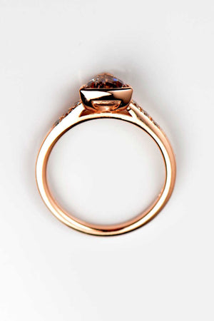Morganite trillion diamond ring slingshot design rose gold