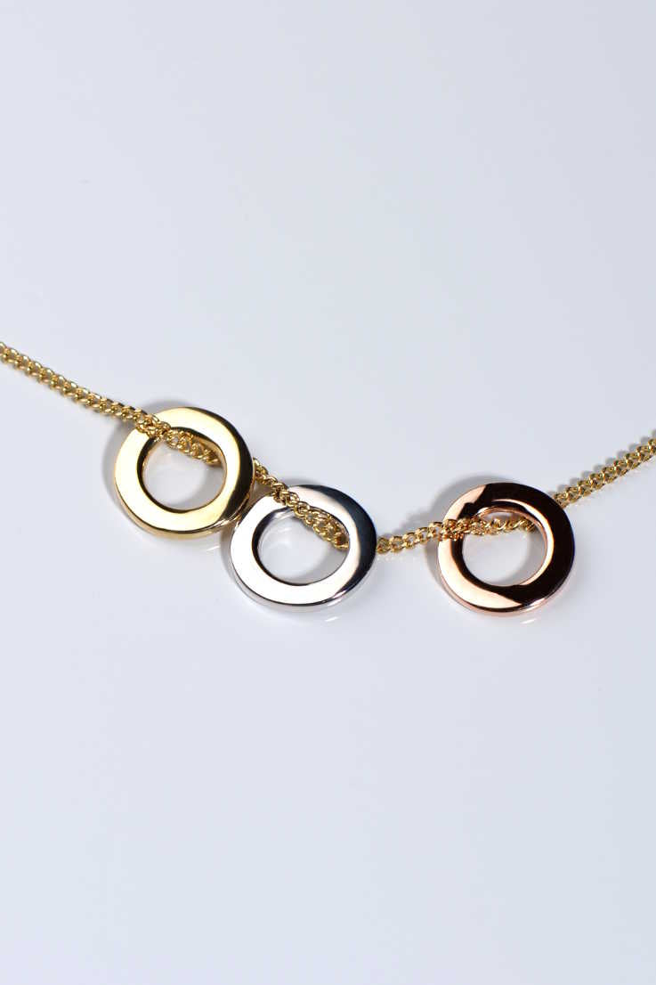 Affinity necklace with three colours of gold rings - Unforgettable Jewellery