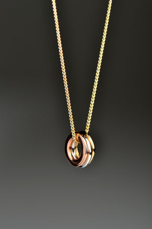 Affinity necklace with three colours of gold rings