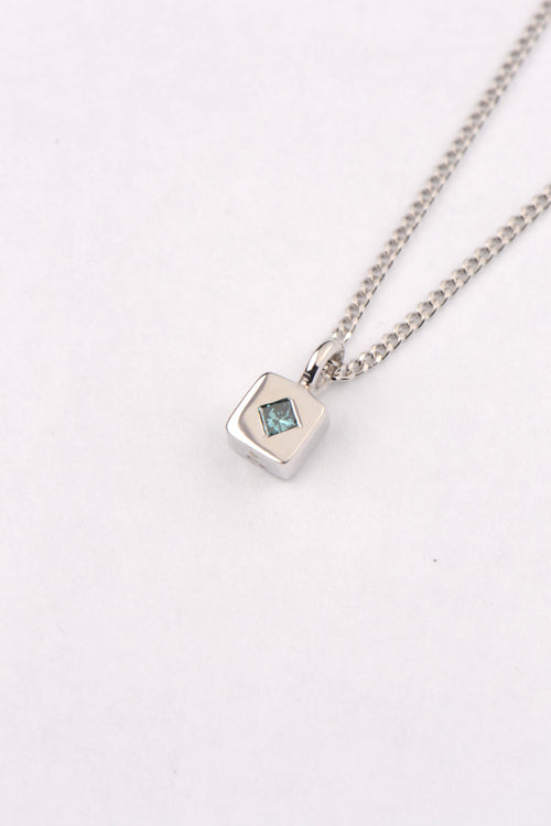 Blue diamond white gold pendant - Unforgettable Jewellery