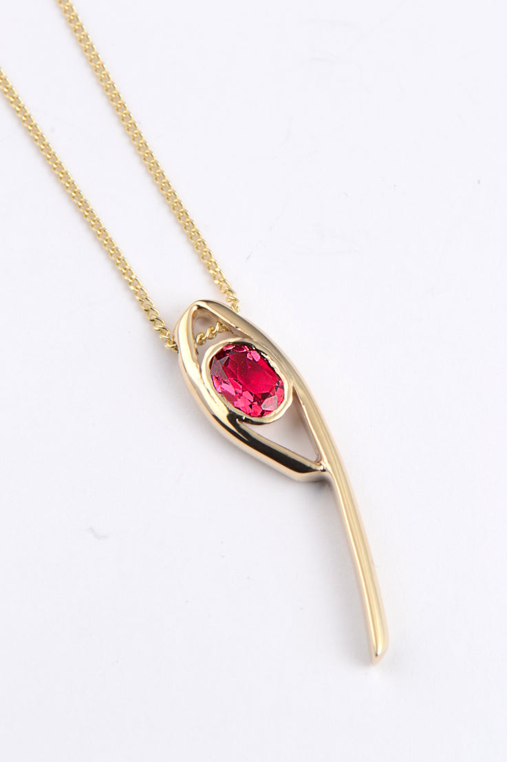 Stay Together 9ct gold red tourmaline pendant