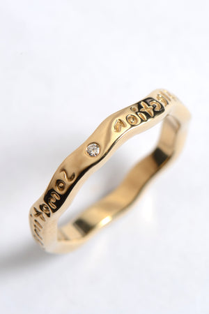 Gold reflection ring with diamond - Unforgettable Jewellery