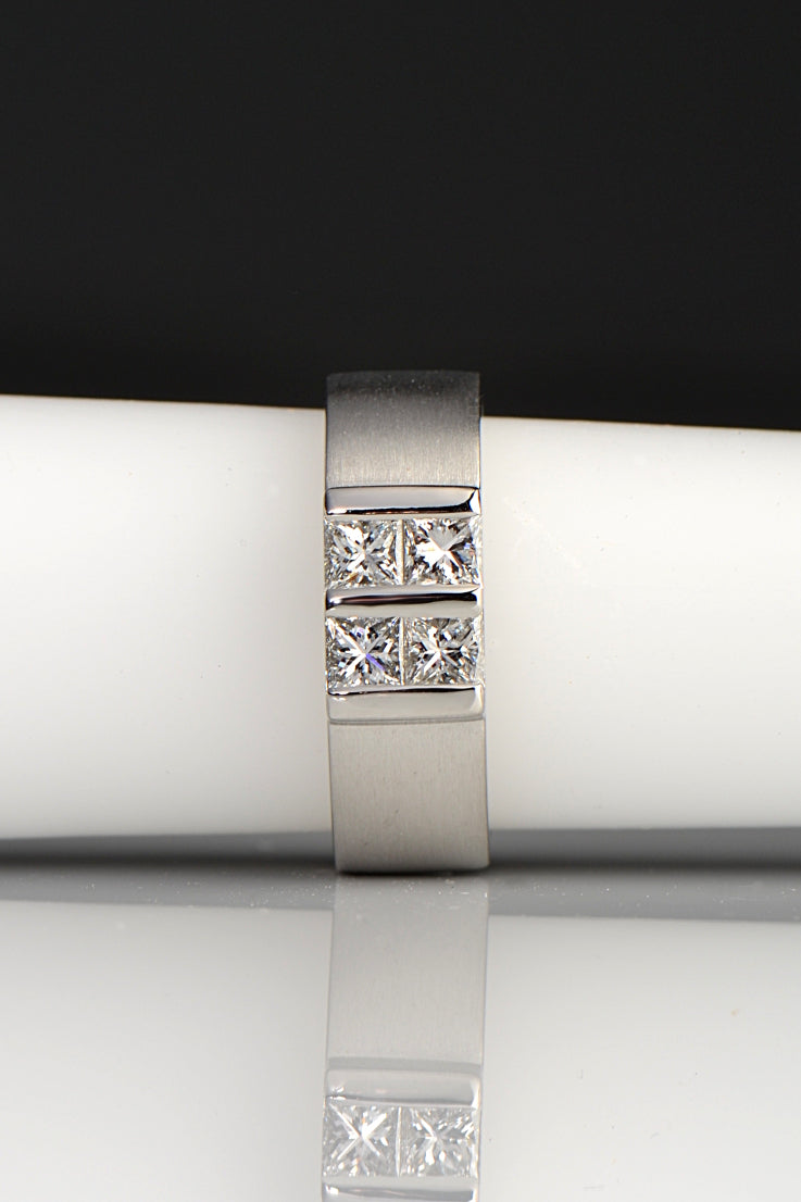 platinum and diamond princess cut ring inspired by battenberg cake