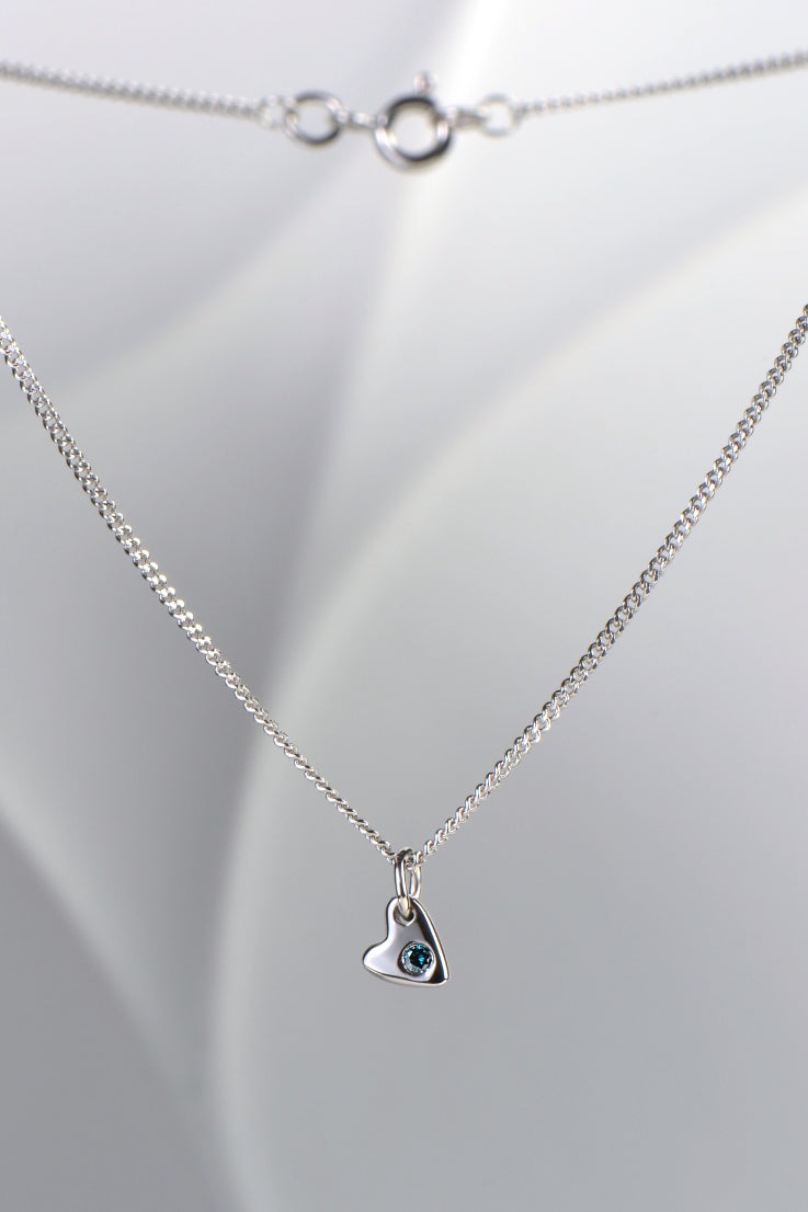 From the heart white gold and blue diamond pendant