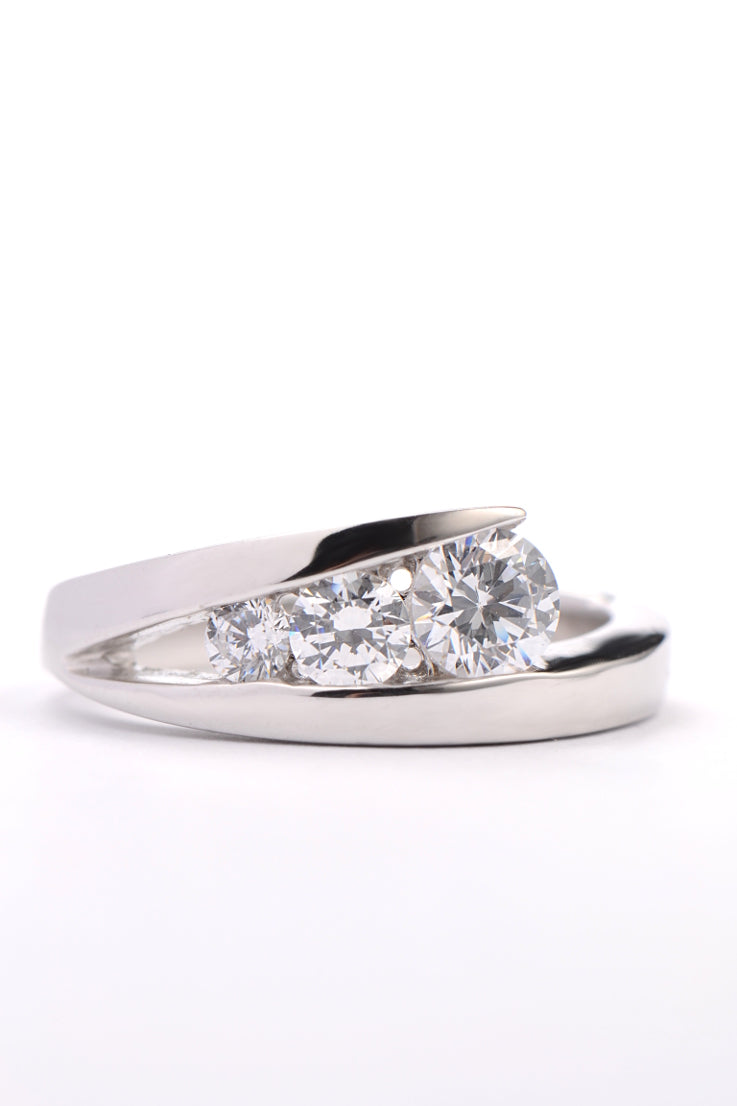 Silver three CZ ring