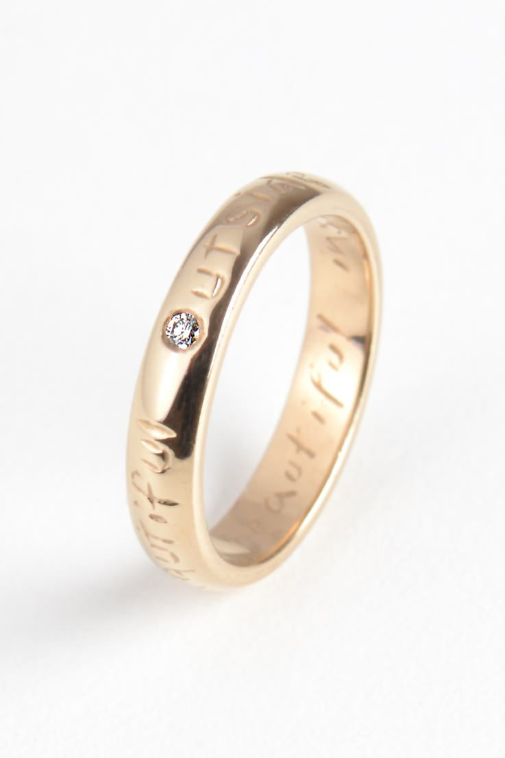 Beautiful Gold Narrow Ring with Diamond - Unforgettable Jewellery