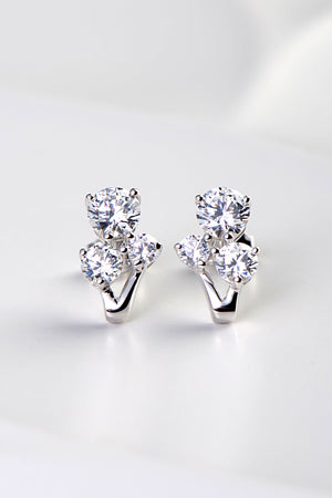 Silver three stone stud earrings