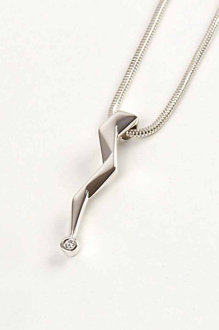 Zeus lightning bolt petite diamond pendant