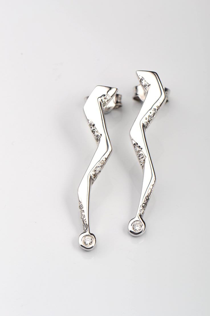 Zeus petite lightning bolt 9ct white gold and diamond earrings