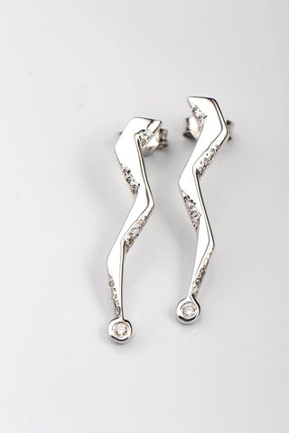 Zeus lightning bolt diamond statement earrings