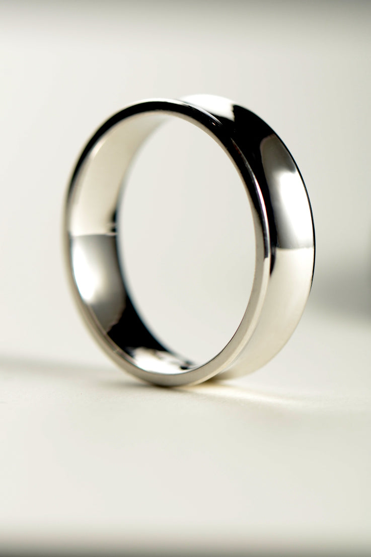 Concave 9ct white gold 6mm wedding ring - Unforgettable Jewellery