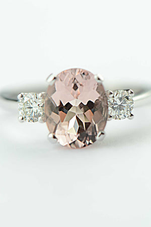 Oval cut morganite and diamond 18ct white gold ring