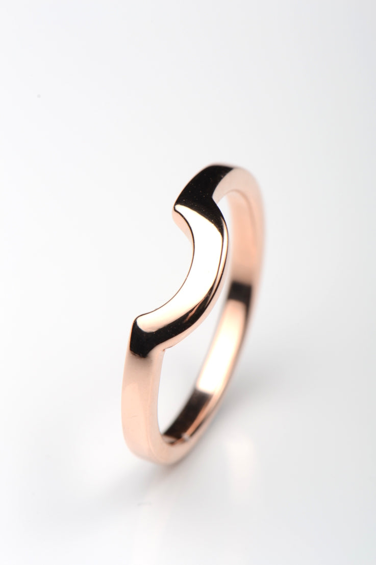 Rose gold shaped wedding band