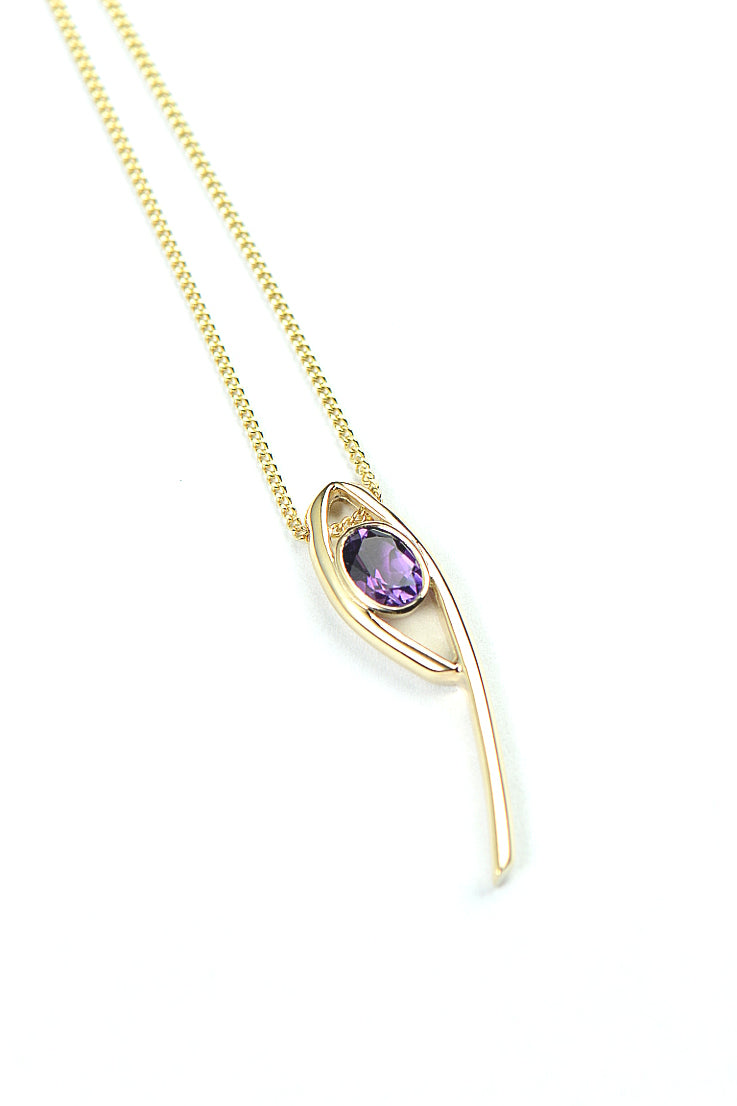 Stay Together 9ct gold oval amethyst pendant