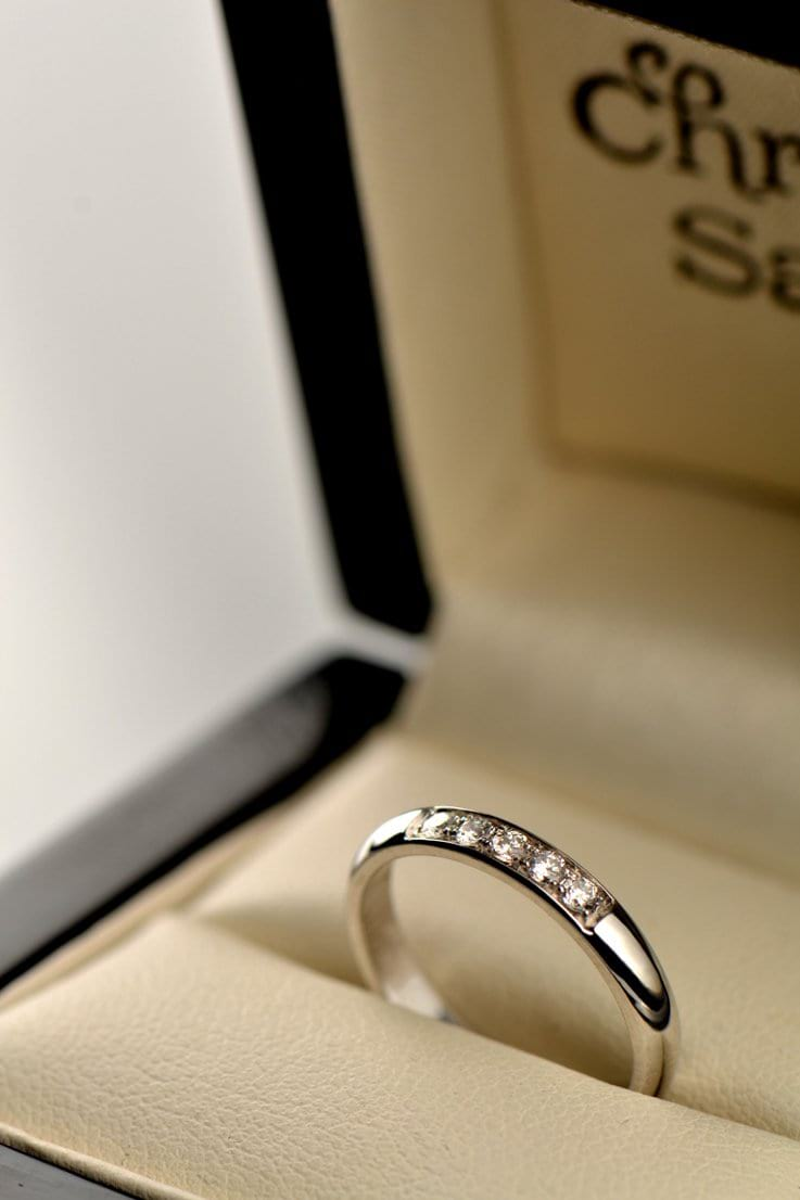 Classic 3mm wide diamond set wedding ring in 18ct white gold - Unforgettable Jewellery