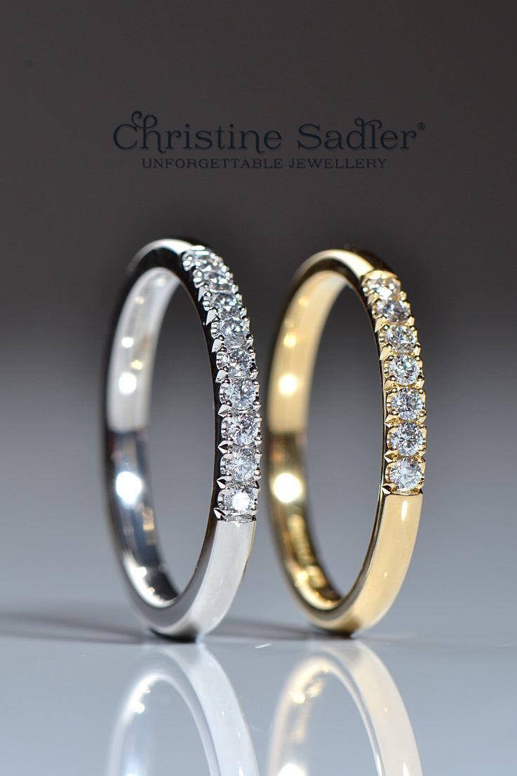 Castle set diamond eternity rings - Unforgettable Jewellery