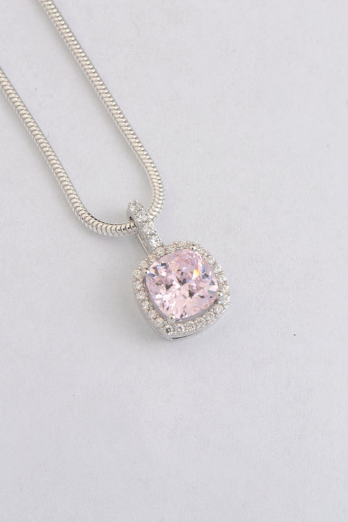 Silver pink CZ cushion cut halo pendant