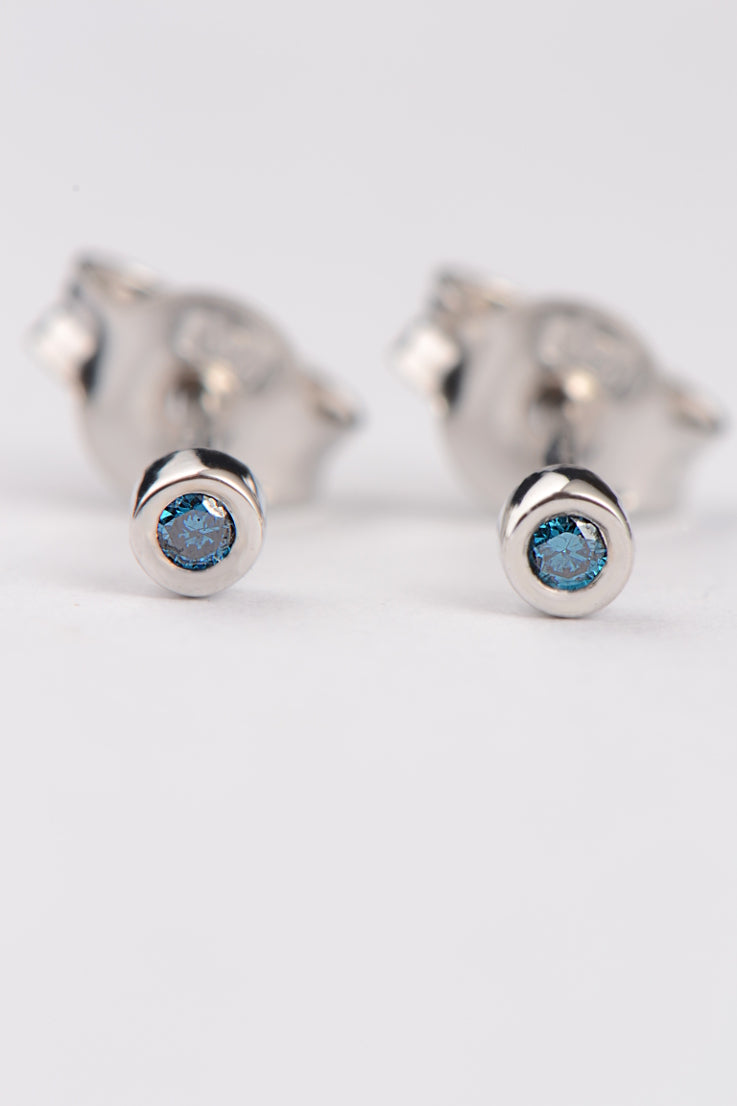 Cairn white gold blue diamond earrings - Unforgettable Jewellery