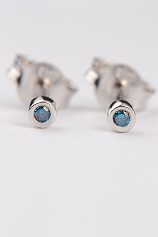 Silver CZ trapped stud earrings