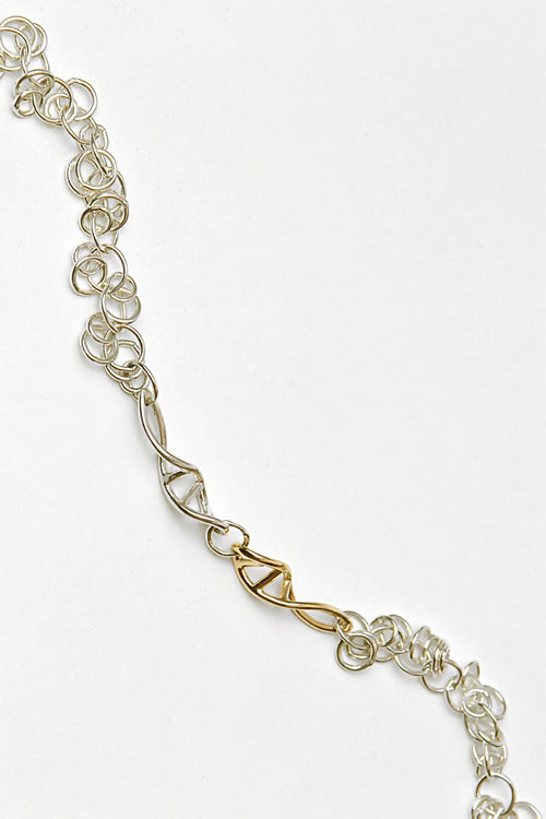 Designer genes silver and 9ct gold bracelet - Unforgettable Jewellery