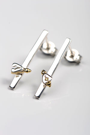 Bee 18ct gold and silver earrings - Unforgettable Jewellery