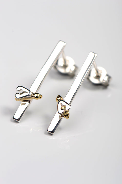 Bee 18ct gold and silver earrings