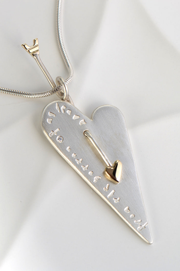 From the heart large engraved pendant - Unforgettable Jewellery