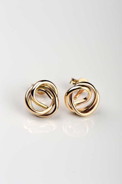 Knot the end 9ct yellow gold stud earrings - Unforgettable Jewellery
