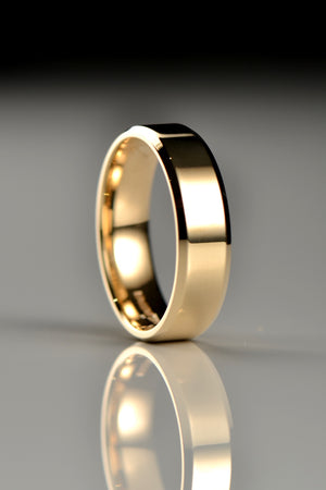 6mm chamfered edge wedding ring - Unforgettable Jewellery