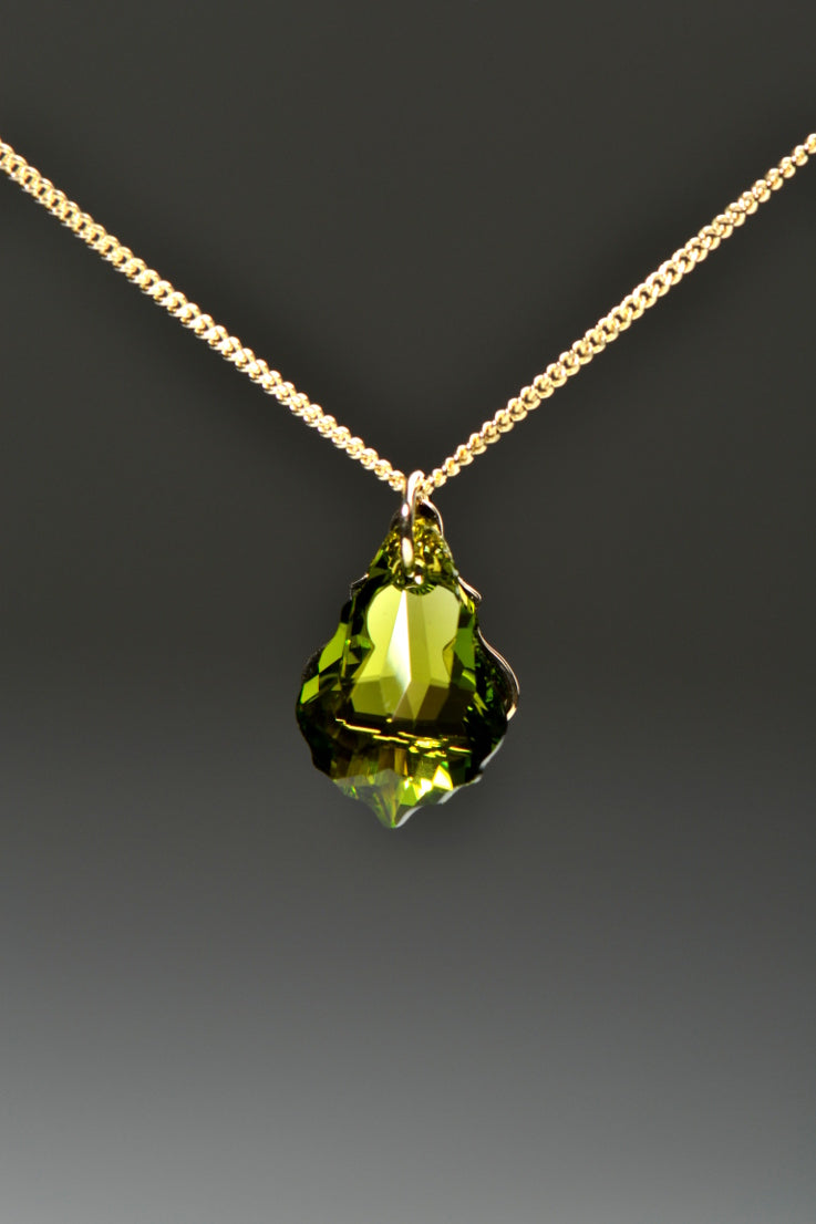Watch me gold and green pendant