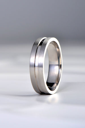 Platinum 6mm wedding band with polished centre detail