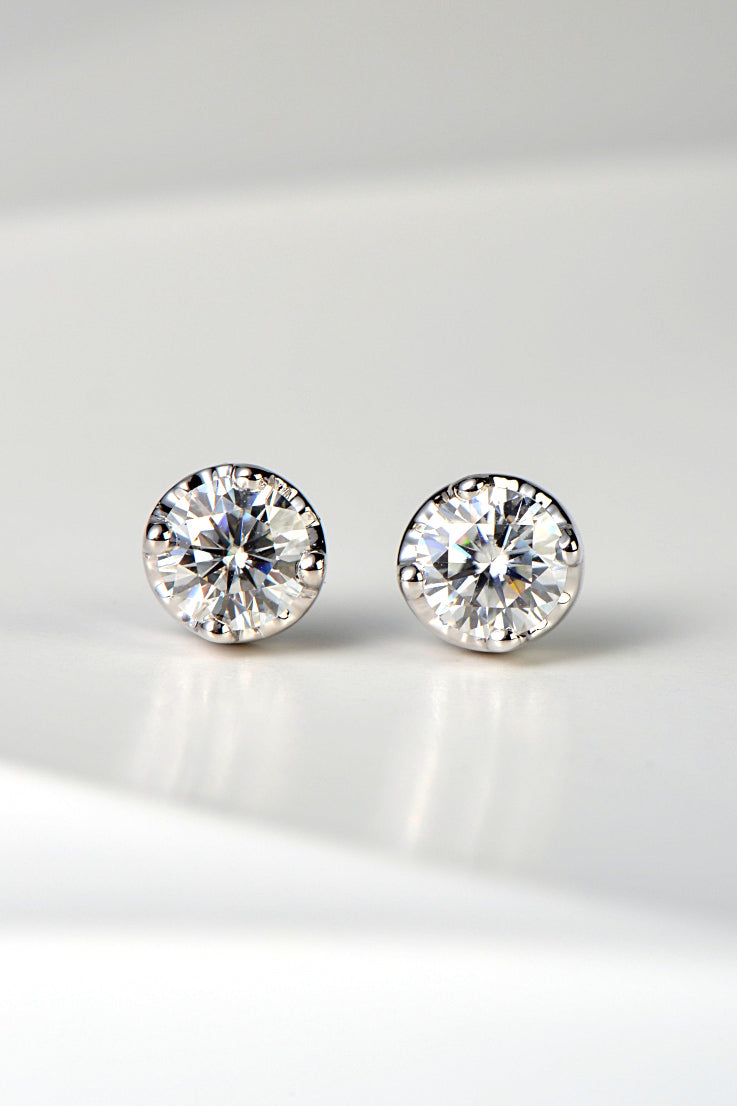 Moissanite 9ct white gold earrings