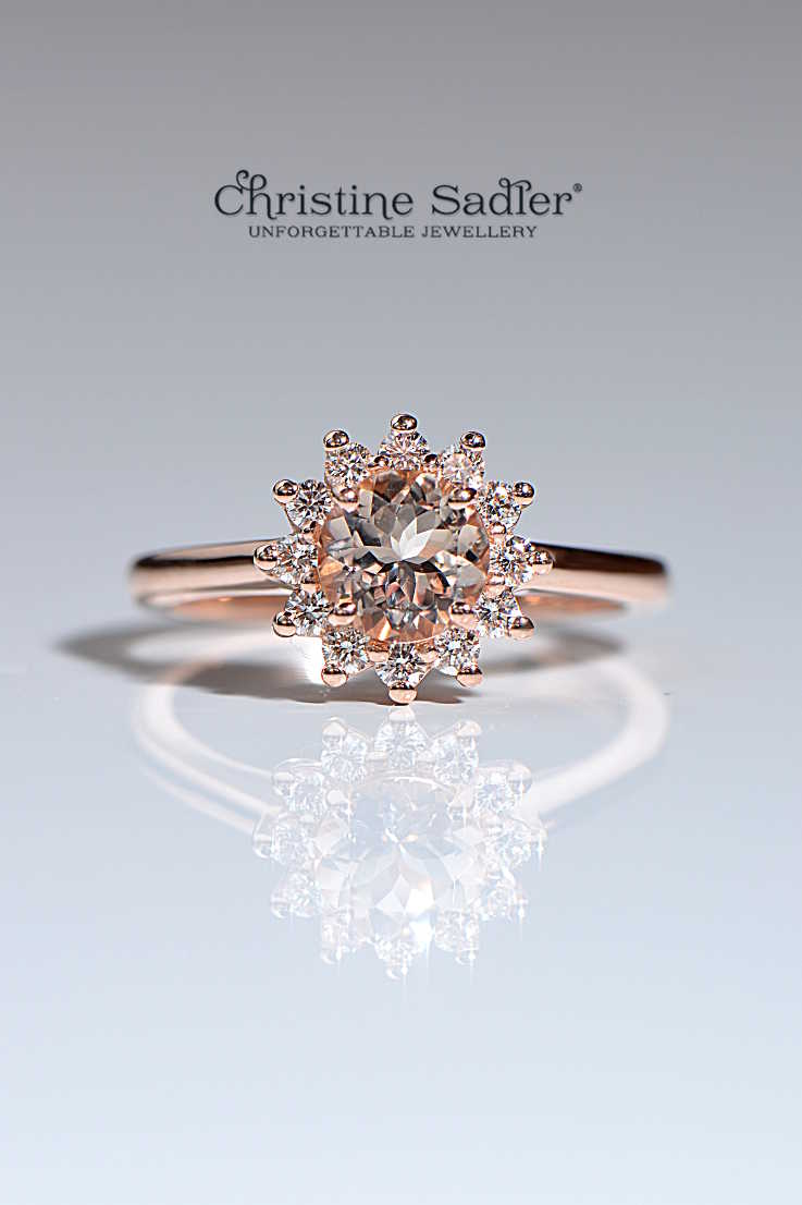 morganite and diamond rose gold engagement ring