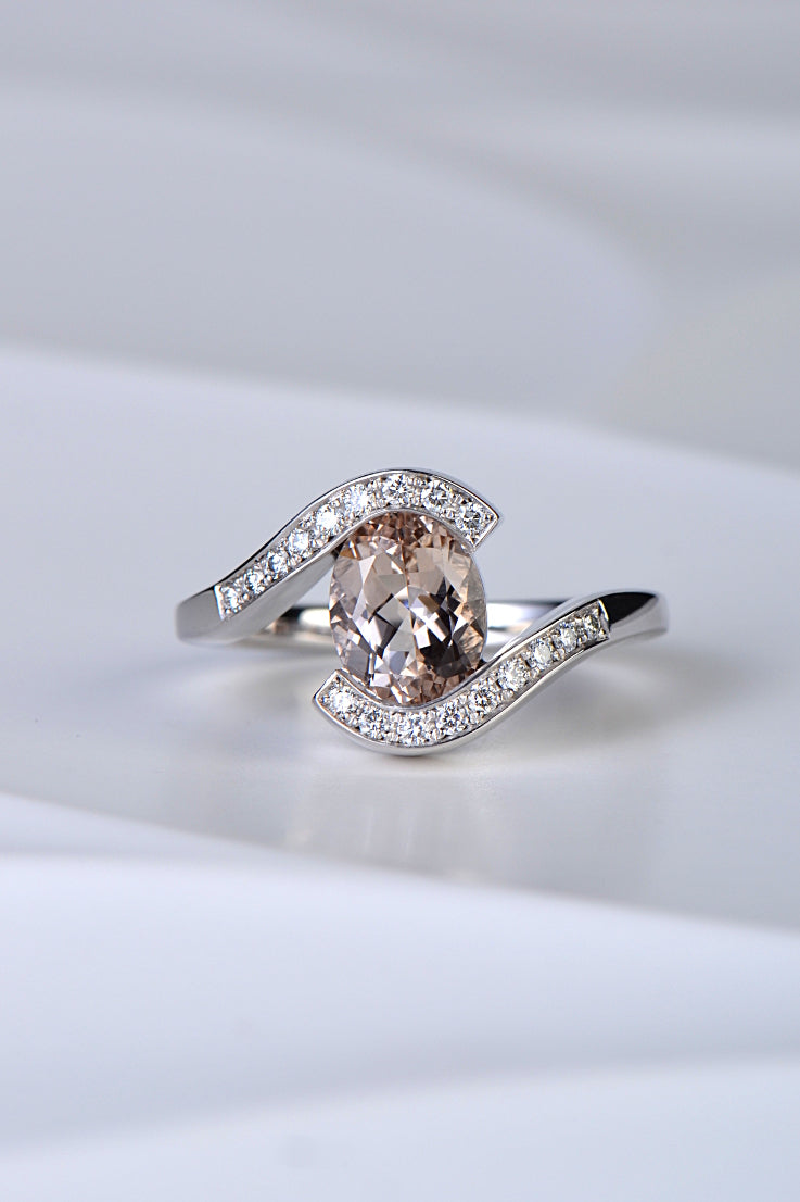 Morganite and diamond 9ct white gold twist ring