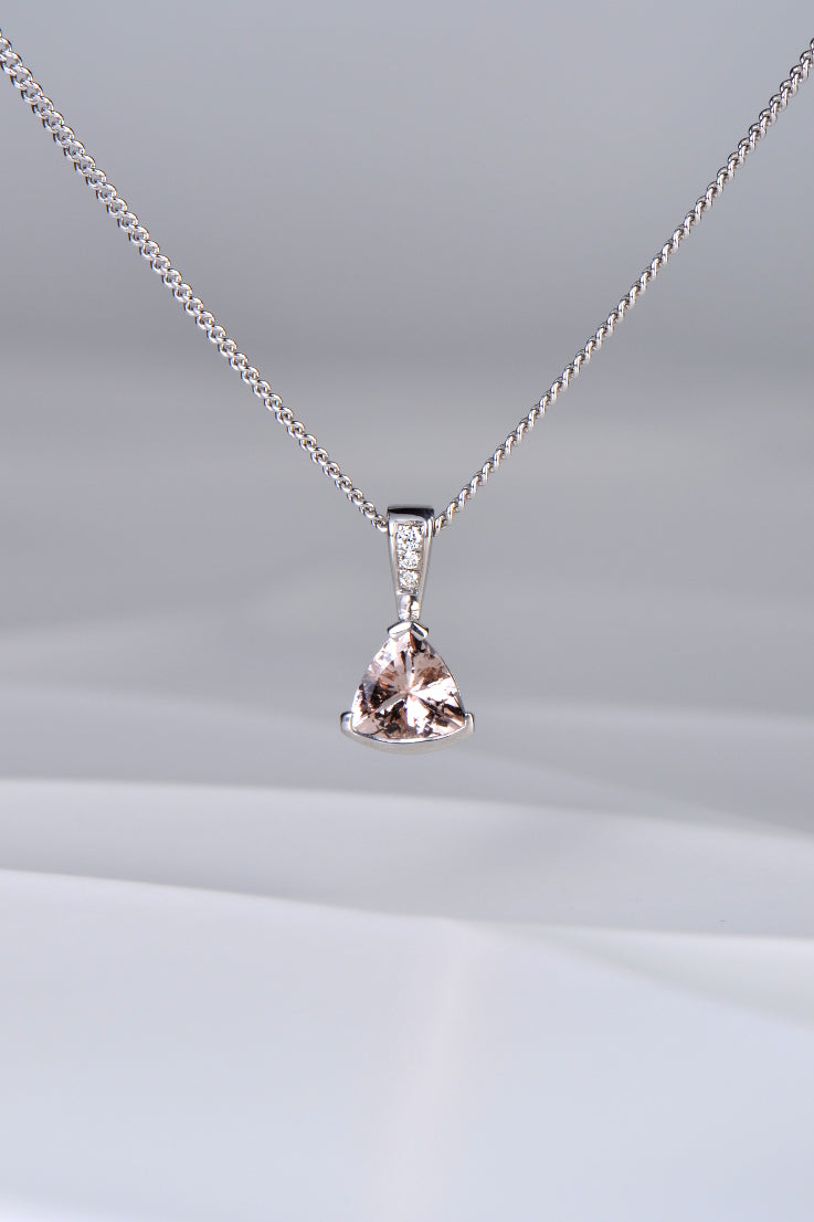 Morganite and diamond Slingshot pendant