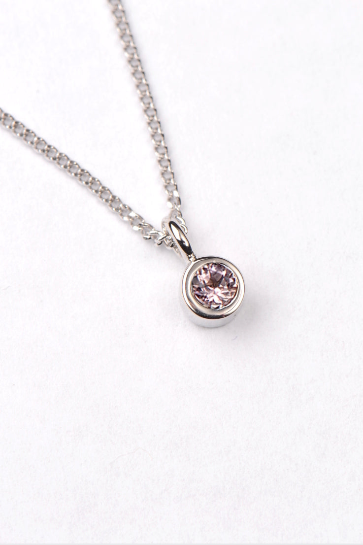 Morganite and white gold necklace