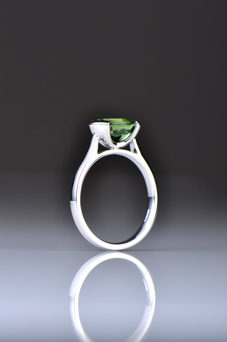Chrome green tourmaline platinum ring