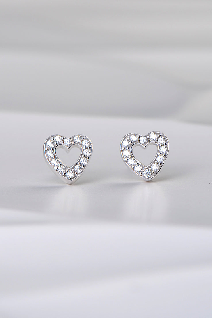 open heart pave set silver and cz stud earrings