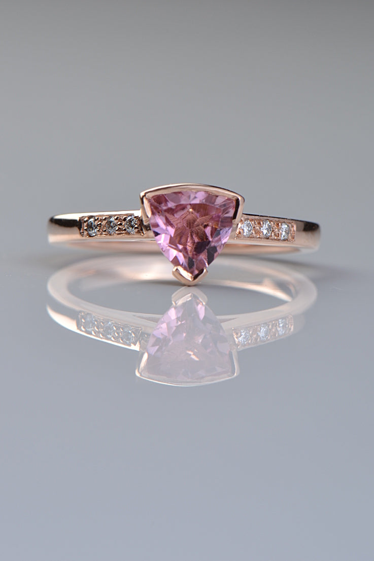 Pink tourmaline trillion cut rose gold Slingshot ring