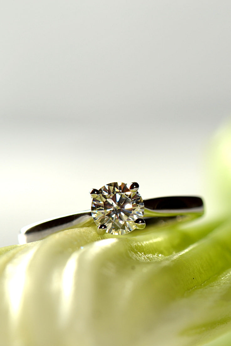 Moissanite and platinum engagement ring