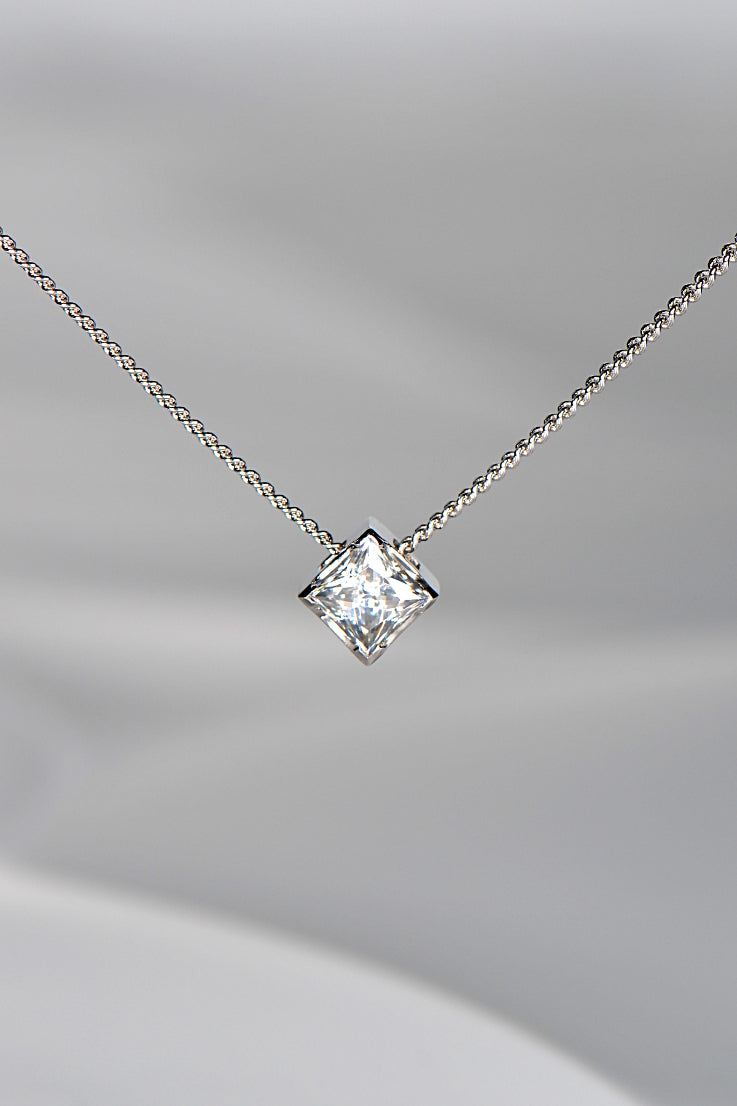 White gold princess cut moissanite pendant