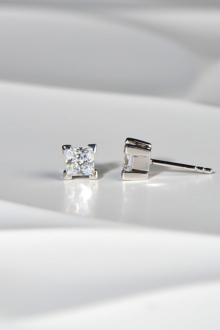 Silver Princess cut stud earrings