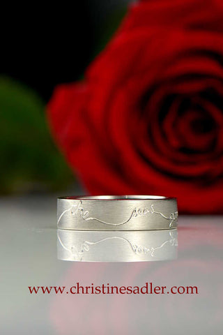 8mm silver textured band