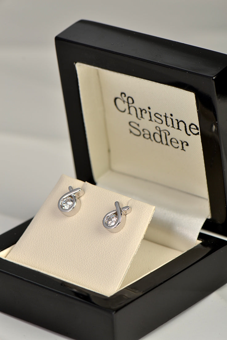Silver Ribbon stud earrings