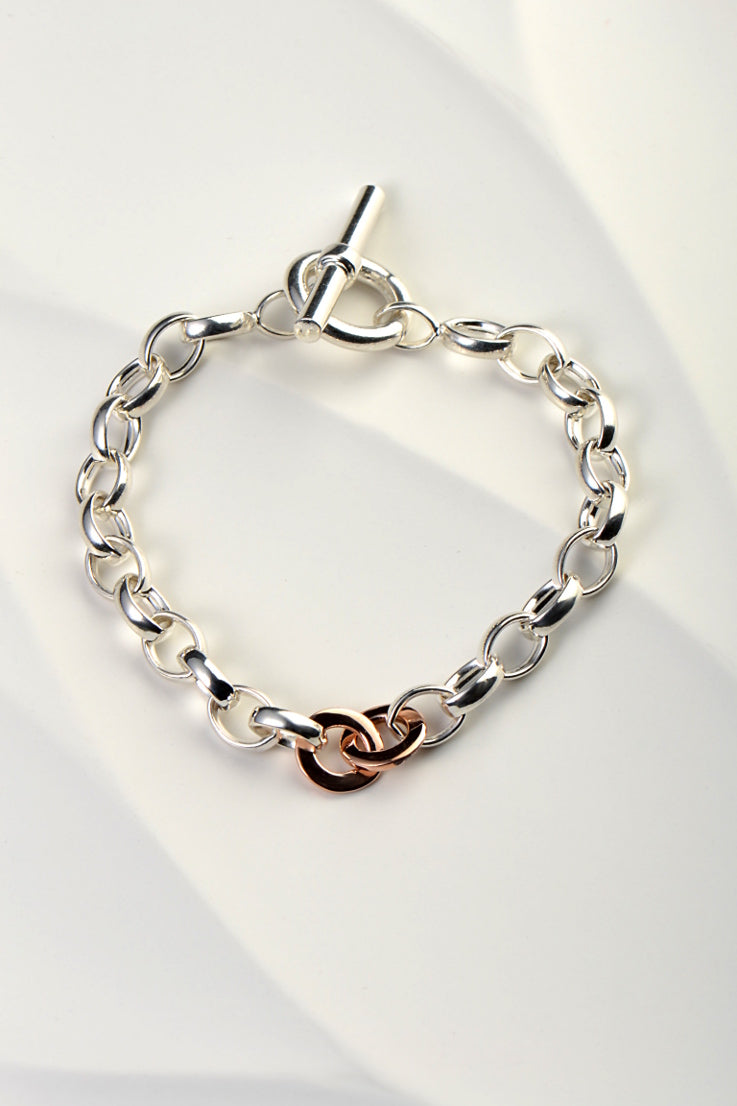 Affinity silver and gold T bar bracelet